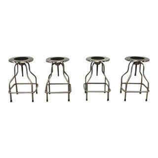 Set of 4 Stainless Steel Revolving Stools