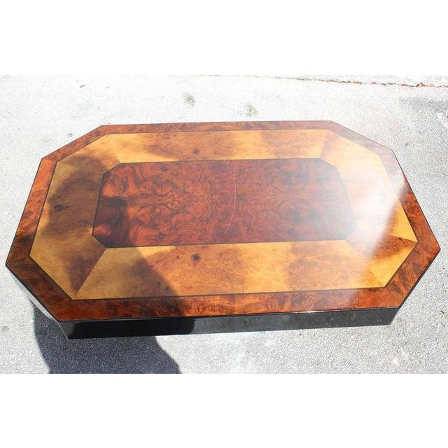 French Art Deco Burl/ Black Lacquer Coffee Table