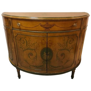 Adams Style Paint Decorated Demi Lune Commode or Chest