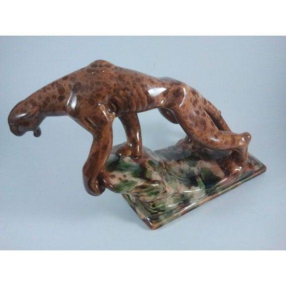 Mid-Century Rock Drip Glaze Art Pottery Panther - Image 3 of 6