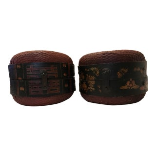 1800s Antique Chinese Leather Hat Boxes - A Pair