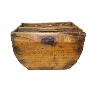 Traditional Chinese Village Vintage Wood Square Handle Bucket
