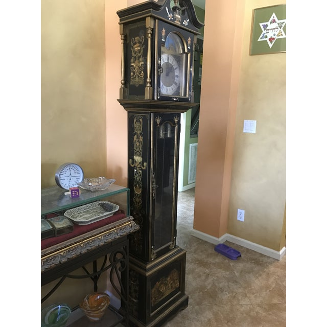 Asian Black Grandfather Clock Hand Painted With Pearl Inlay - Image 10 of 11