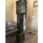 Image of Asian Black Grandfather Clock Hand Painted With Pearl Inlay