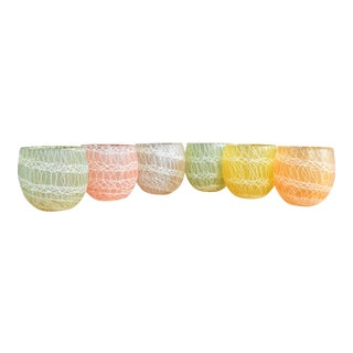 Vintage Pastel Spaghetti Glasses - Set of 6