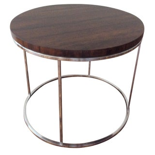 1969 Milo Baughman Rosewood & Chrome Side Table