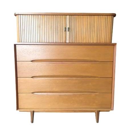 Brown Saltman Mid-Century Tambour Highboy Dresser - Image 1 of 7