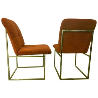 Vintage Upholstered and Brass Chairs - A Pair