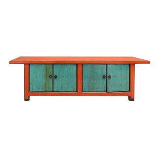 Chinese Distressed Orange Blue Low TV Console