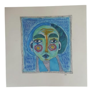 Blue Abstract Portrait Drawing by LK