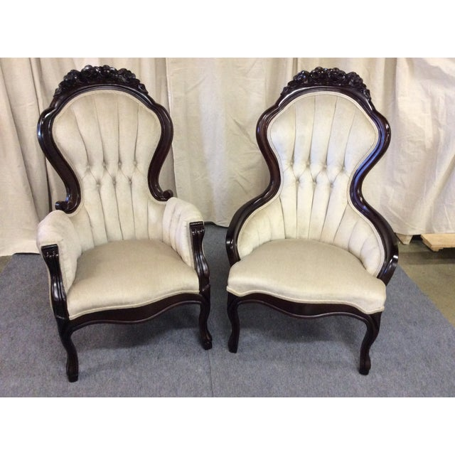 Wooden Victorian Chairs - Pair - Image 2 of 11