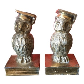 Colonial Virginia Brass Owl Bookends - Pair