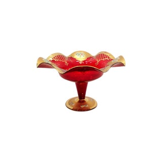 Red Glass Compote Vase with Gold Detailing