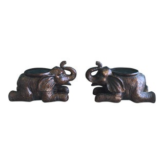 Large Elephant Trunks Up Pillar Candle Holders/Planter Stands - Set of 2