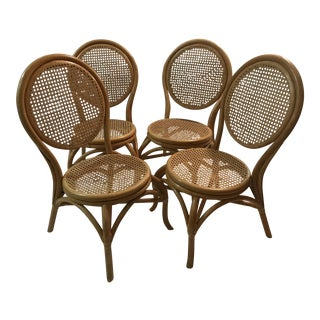 Sheet Cane Bentwood Bistro Chairs - Set of 4