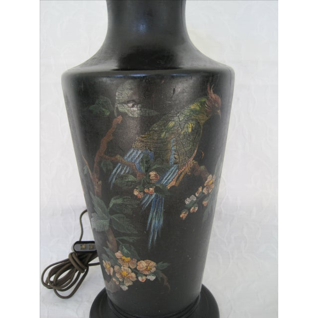 Art Deco Hand Painted Bird & Cherry Blossom Lamp - Image 4 of 8