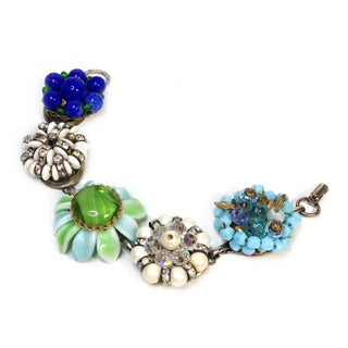 Blue, Green & White Cluster Bracelet