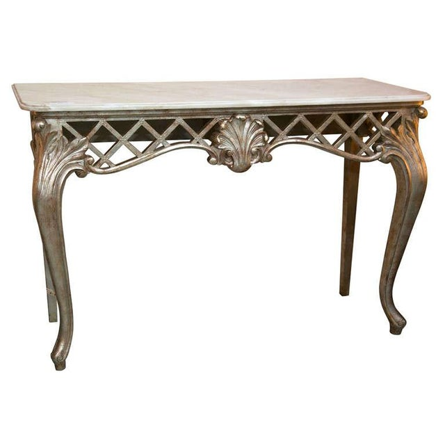 French Rococo Coffee Table: French Rococo Marble Top Console Table