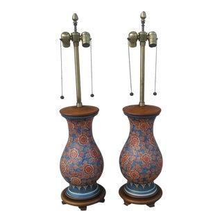 Vintage Japanese Porcelain Vase Lamps - A Pair
