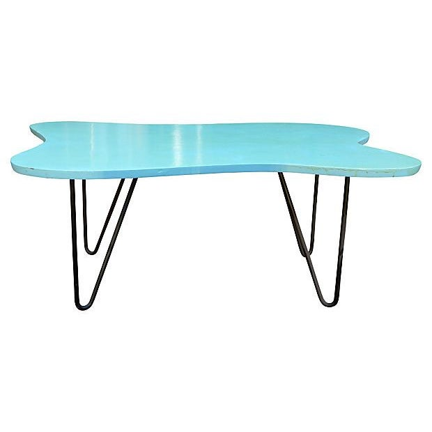 Mid-Century Turquoise Hairpin Coffee Table - Image 1 of 5