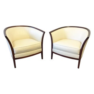 Bernhardt Design Leather Lounge Chairs - A Pair