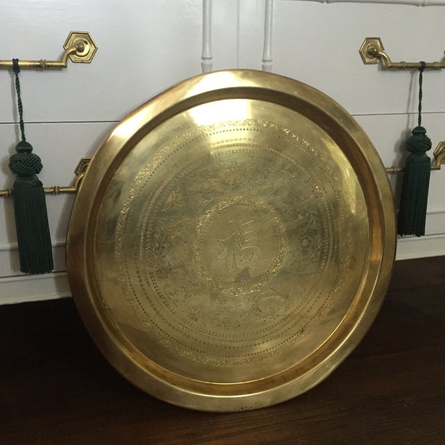 Large Brass Asian Round Tray Wall Hanging