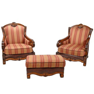 Michael Amini Toscano Chairs with Ottoman - Set of 3