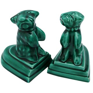 French Green Majolica Dog Bookends - A Pair
