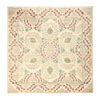 """Suzani, Hand Knotted Square Rug - 6' 1"""" X 6' 1"""""""