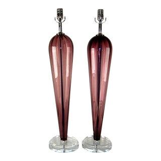 Grape Vintage Murano Teardrop Lamps