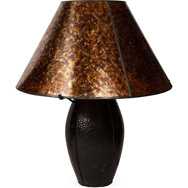Craftsman Style Bronze Hammered Table Lamps - Pair - Image 2 of 4