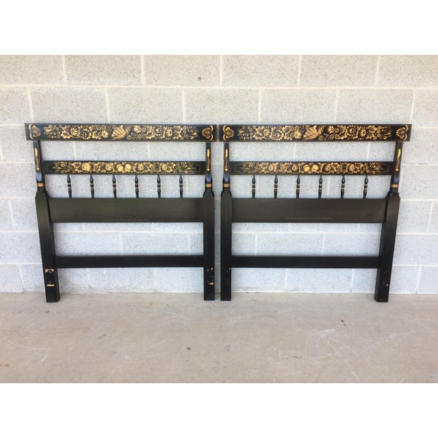 L. Hitchcock Black Twin Headboards - A Pair - Image 2 of 9
