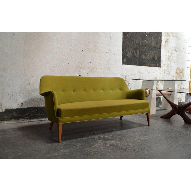 Mid-Century Scandinavian Modern Green Tweed Sofa in the Style of Carl Malmsten - Image 2 of 6