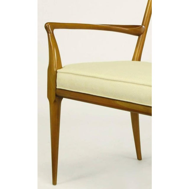 Image of Pair of Bert England Sculpted Walnut and Off-White Linen Slatback Armchairs