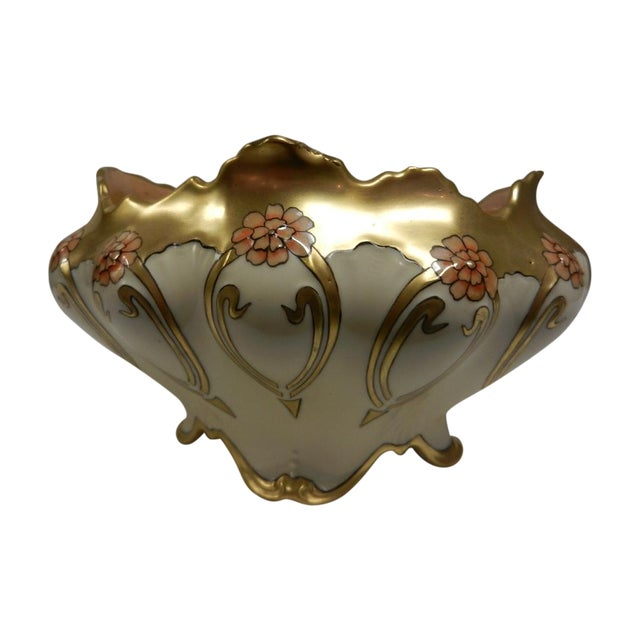 Image of Hand Painted Ivory Vase with Gold Flourishes