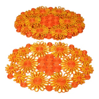1970s Floral Raffia Placemats - Set of 4