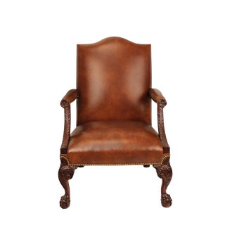 Samuel Brown Leather Library Arm Chair