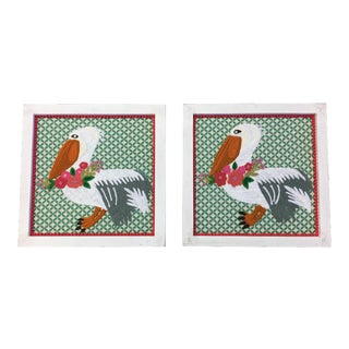 Embroidered Pelicans Pom-Pom Trim Framed Textile Art - a Pair