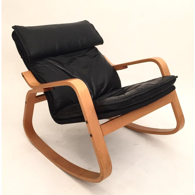 Danish Modern Black Leather Rocker - Image 2 of 4