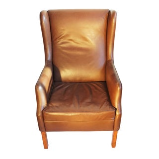 Danish Modern Wingback Leather Chair