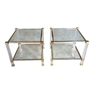 """Pair Of 1970's Signed """"Pierre Vandel"""" Lucite & Gilded Metal End Tables"""