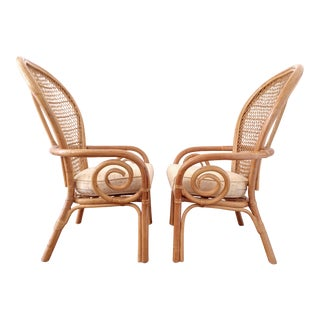 1970s Rattan Fan Back Chairs - Pair