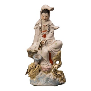 """Quan Yin"" porcelain figure depicted as the ""Protector of Seafarers"" from Kuang Hsu period China c.1875"