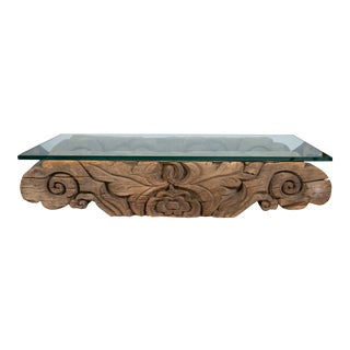 Tibetan Hand-Carved Architectural Glass Top Table