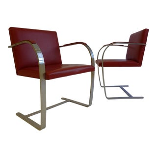 Vintage Pair of Knoll Brno Chairs in Red Leather