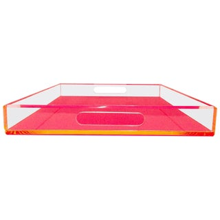 21st Century Neon Pink and Clear Lucite Cut Out Handle Tray