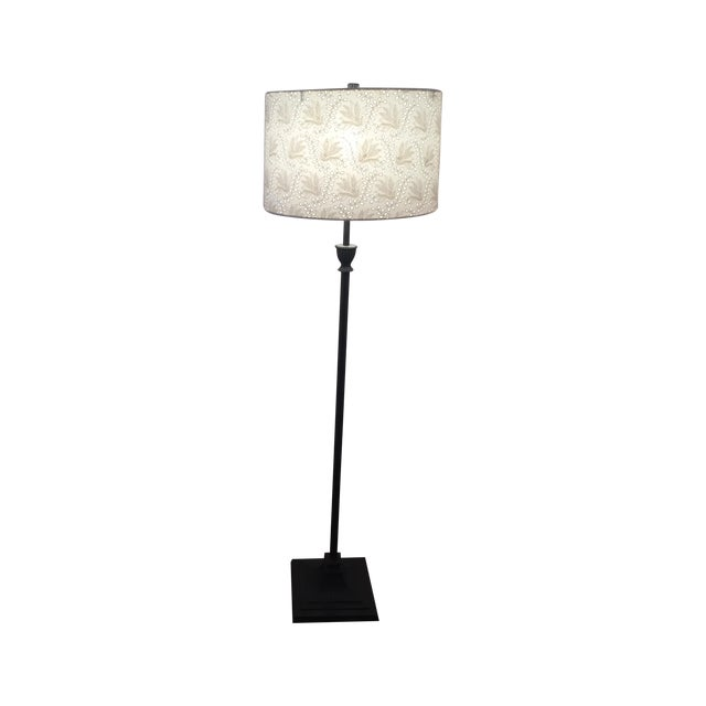 Pottery Barn Floor Lamps & Anthro Shades - Pair - Image 1 of 5
