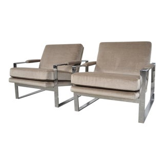Milo Baughman Chrome Flat Bar Lounge Chairs
