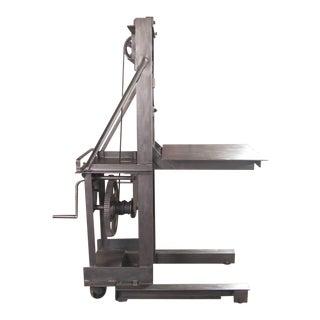 Vintage Industrial Steel Manual Die Lift / Crank Table / Cart