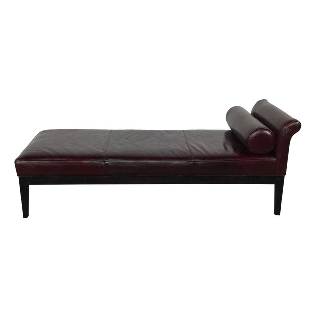 Crate & Barrel Leather Chaise Lounge - Image 1 of 9